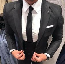 Diseñador Negro de negocios Traje Chaqueta Pantalón Chaleco Entallado Ajustado