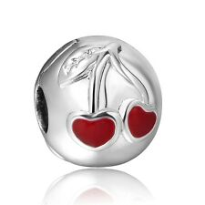 Delicious Cherry 925 Sterling Silver New European Clip Charms For Bead Bracelet