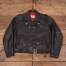 "Mens Vintage Leather Perfecto Motorcycle Biker Jacket Lined Black M 40"" R4649"