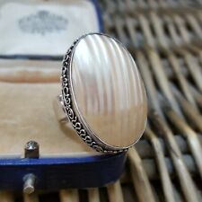 SUARTI 925 STERLING SILVER RING, STATEMENT, HUGE MOTHER-OF-PEARL, SIZE M½