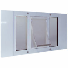 """Ideal Pet Products 23Swds White Aluminum Sash Pet Door Small White 1.5"""" X 12."""