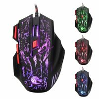 Ergonomic Optical USB Wired Backlit Gaming Mouse Mice 7 Button 5500DPI Laptop PC