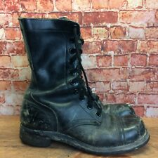 Vintage 60's Black Leather Military Combat Jump Boots Size 6.5 R Made In USA