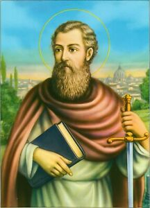 """Catholic Print Picture ST. PAUL THE APOSTLE ready to frame 7 1/2 x 10"""""""
