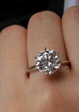 4Ct Round Cut Solitaire Wedding Engagement Ring 14 Kt Solid White Gold