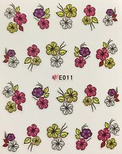 Nail Art 3D Decal Stickers Flowers Pink Purple Green & White E011