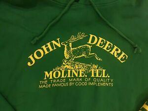 John Deere Tractor Green Hoodie Sweatshirt Moline, Illinois Mens Size XL