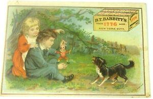 Antique B.T. Babbitt's Soap Co. Trade Card Children Punch Marionette  Terrier