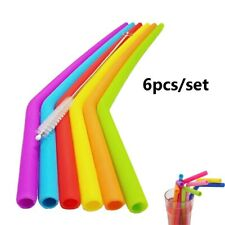 6Pcs Reusable Silicone Drinking Straws Flexible Straws with Cleaning Brushes