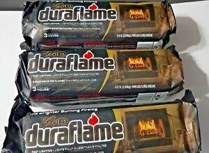 3PK Fire Starter Duraflame Gold Brighter Burning 3-hr Firelog Campfire Fireplace