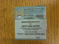 28/04/2001 Ticket: Manchester City v West Ham United (Executive Box). Unless sta