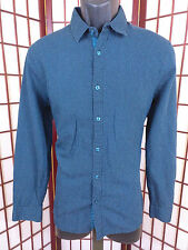 Guess Mens M Blue Woven Shirt LS Business Modern Fit Casual Workplace Style