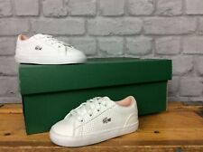 LACOSTE UK 6 EU 23 WHITE PINK LEROND LEATHER TRAINERS TODDLER GIRLS