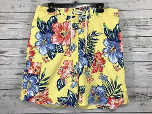 Polo Ralph Lauren Men's Yellow w/ Floral Hawaiian Swim Shorts Trunks XL X-Large