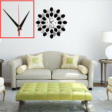 New DIY Mirror Quartz Wall Clock Vinyl Sticker Home Modern Decor Black Silver