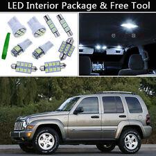 9PCS Bulbs White LED Interior Lights Package kit Fit 2002-2006 Jeep Liberty J1