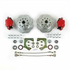 Mustang Ii Front Disc Brake Slotted Ford No Spindles Red Single Piston Calipers Fits 1939 Ford