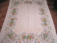 Vintage Tablecloth Pink Blue Green Houses and Stylized Floral 1970s