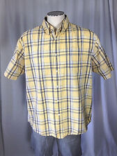 Wrangler Hero Yellow Blue Plaid Button Front Pocket Short Sleeve Shirt sz L #416