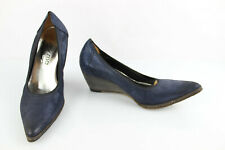 Myma Court Shoes Sharp / Pointed Wedge Heels Leather Navy Blue T 37 Mint