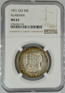 1921 2X2 Alabama Commemorative Silver Half Dollar NGC MS 63 No Reserve 99C Open