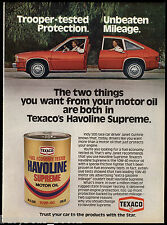 1980 TEXACO motor oil advertisement, Havoline oil, with Indy driver JANET GUTHRI