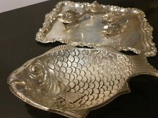 420g STERLING SILVER set 2 APETIZER trays & 4 vinegar family fishes