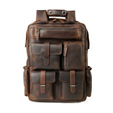 "Large Men Leather 15.6"" laptop Backpack Carry on Handbag Travel Camping Outdoor"