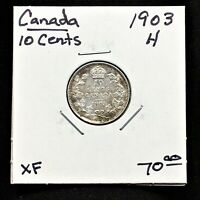 1903H CANADA 10 CENTS SILVER COIN HEATON MINT GEORGE V SCARCE XF