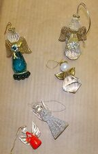 5 vintage glass angel Christmas tree ornaments jeweled and metal wings angels