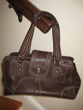 Coach Hamptons brown leather PURSE hobo handbag white pink F13961 shoulder bag