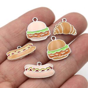 10Pc Enamel Bread Charm Pendant Jewelry Making Bracelet Earrings Accessories