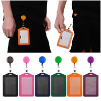 Office Student Nurse Leather ID Badge Holder Card Holder with Retractable Clip