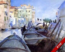 VENITIAN BOATS & CANALS VENICE ITALY WATER COLOR PAINTING ART REAL CANVAS PRINT