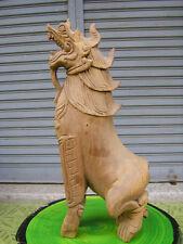 Singha Teak Wood Hand Carved  Old Antique Vintage Chic Thai Art Buddhist Temple