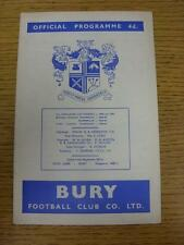 21/03/1964 Bury v Swansea Town  (staples removed). This item is in very good con