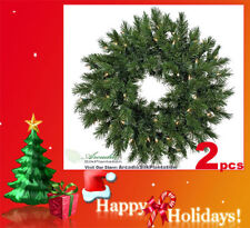 """TWO 24"""" Artificial Pine Wreath with Light Christmas 124"""