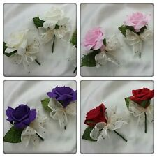 wedding flowers buttonholes / Ivory / purple / red / pink x3 /x 6/ x10
