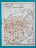 "1905 BAEDEKER MAP - BELGIUM Brugges Brugge City Plan 6 x 8"" (15,5 x 21 cm)"