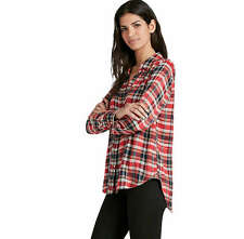 Lucky Brand - Women's L - NWT $79 - Red Plaid Flannel Twill Back Overlay Shirt