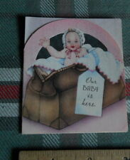"Vintage 10 Birth Announcement *Our Baby is here * 3"" X 3 1/2""Inches H"