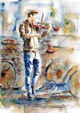 "A611-Signed Print of ORIGINAL WATERCOLOR PAINTING, ""Street Fiddler"",Gift"