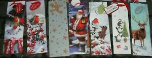 4 PACK BOTTLE CHRISTMAS GIFT BAG WINE CHAMPAGNE XMAS SANTA PRESENT SACK WITH TAG
