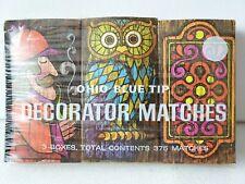 Vintage OHIO BLUE TIP DECORATOR MATCHES 3 BOXES SEALED 375 Very large MATCHBOX
