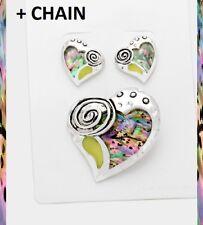 "2"" BIG Pendant Earrings + Chain Necklace Silver Abalone Shell Swirl Heart Love"