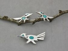 Road Runner Pin & Earring Set Sterling Silver Turquoise Native American Indian