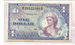 1965 Series 641 -  M57 1 Dollar Used in Vietnam 1965-68 Unc see reverse