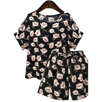 Women Plus Size 2 Piece Set Casual Floral Print Loose Blouse Top + Short Pants
