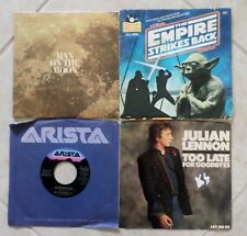 Lot 4 Records 45 RPM Star Wars Julian Lennon Ghostbusters Theme Man on the Moon