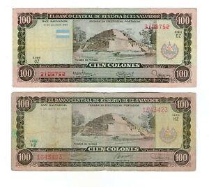EL SALVADOR LOT 2 NOTES 100 COLONES 1979 AND 1980